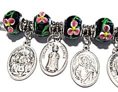 $129 Pandora Style Sterling Silver Catholic Charm Bracelet Saints Virgin Mary
