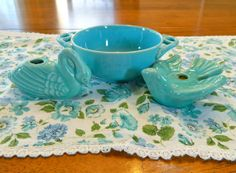 Vintage table runner aqua dish and 2 teal candle holders aqua white green and blue vintage home decor on Etsy, $18.00