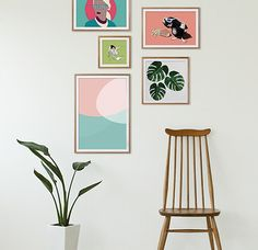 Tip: How to hang art in a loose grid. Get colourful wall art print now on Juniqe.com | Art. Everywhere. #gallerywall #interior #pastels #inspiration