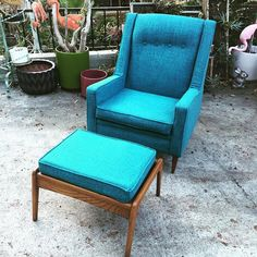 """""""Mid century lounge chair with ottoman just back from the upholsterer and now available"""" Photo taken by @modernflamingo on Instagram, pinned via the InstaPin iOS App! http://www.instapinapp.com (08/20/2015)"""