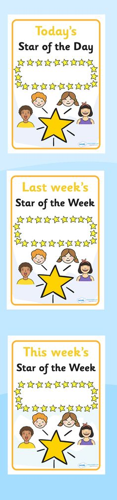 Twinkl Resources >> Star of the Week and Day Display Posters >> Printable resources for Primary, EYFS, KS1 and SEN.  Thousands of classroom displays and teaching aids! Class Management, Rewards, Awards, Posters