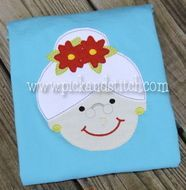 Ms Claus Bean Stitch Applique Design