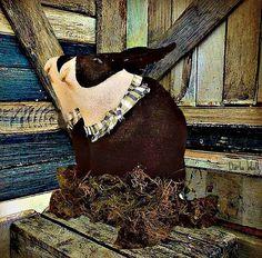 Rabbit Shelf Tuck Primitive Folk art by harrietstash on Etsy