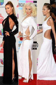 Carmen Electra showed a little back in this edgy black gown at the 14th Annual Latin Grammy Awards in Las Vegas on November 21, 2013, while Christina Aguilera had people gawking at her incredible weight loss in this white Maria Lucia Hohan gown featuring a large diamond-shaped cut-out at the 2013 American Music Awards on November 24, 2013 in Los Angeles.  Nicole Richie   showed off her slim physique at the American Music Awards in a long white dress, in her case, a slinky Emilio Pucci…