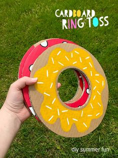 Summer Crafts For Kids & DIY Garden Games is part of crafts Decoracion Summer - How to make Cardboard Ring Toss diy garden game and a simple and cute Shampoo Bottle Boat for paddling pool and bath adventures, summer crafts for kids fun Donut Birthday Parties, Donut Party, Birthday Games, Diy Birthday, Birthday Ideas, Summer Crafts For Kids, Diy For Kids, Summer Ideas, Summer Fun