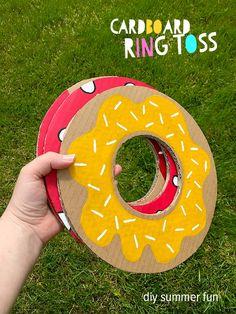 47 Incredibly Fun Outdoor Activities for Kids - DIY Cardboard Ring Toss Game #hobbycraft