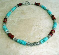 Genuine Turquoise Coral Picasso Jasper Antique Silver Pewter Heishi Necklace #HANDMADE #BOHO#islandgirljewelrydesign