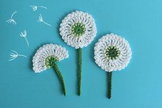 Crochet Dandelion Flowers applique, Crochet Embellishments (1 pcs)