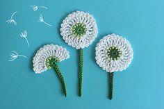 Crochet flower PATTERN Dandelion applique, Crochet Embellishment, DIY flower tutorial, Diagram and Photo tutorial, Instant Download