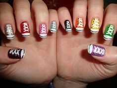 Who would have thought of doing their nails like this?  This had to take some time.
