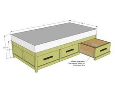 Ana White Build a Daybed with Storage Trundle Drawers Free and Easy DIY Project and Furniture Plans Unique Furniture, Furniture Plans, Bedroom Furniture, Diy Furniture, Furniture Design, Furniture Stores, Furniture Online, Furniture Market, Luxury Furniture