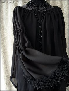 Black sheer georgette Demonia Blouse by Kambriel by kambriel