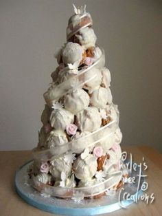 French croquembouche instead of traditional wedding cake