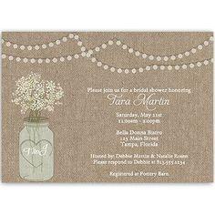 Mason Jar, Bridal Shower, Invitations, Burlap, White, Flowers, Wedding, Lights, Rustic, 10 Printed Invites with White Envelopes, FREE Shipping, Custom, Burlap Mason Jar