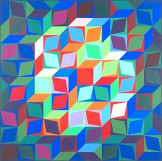 "VICTOR VASARELY (French/Hungarian 1908-1997) A PRINT, ""Untitled,"" signed L/R and numbered 183/200 L/L. 23 3/4"" x 23 3/4"" Framed."