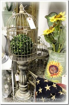 Bird cages glued to candle pillars Spring Easter Décor greenery
