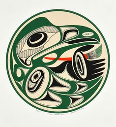 Right Handed Painter by Art Thompson, Nuu-chah-nulth (Ditidaht) artist… Haida Kunst, Inuit Kunst, Arte Haida, Haida Art, Inuit Art, American Indian Art, Native American Art, British Columbia, Kunst Der Aborigines