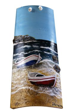 Tile Crafts, Craft Stick Crafts, Diy And Crafts, Stone Painting, Painting On Wood, Ceramic Roof Tiles, Palm Frond Art, Beach Wood, Bottle Painting