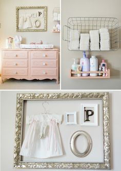 I love this changing unit and memory board above - I would use that for babies hospital memories (ankle tag, initial on a wooden block, first photo, hand/foot print, first outfit she came home in etc)