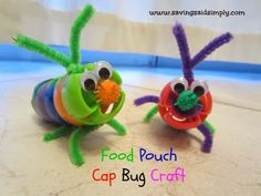 SavingSaidSimply.com - Food Pouch Cap Bug Kids Craft
