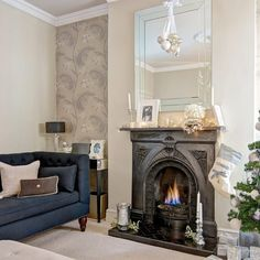 wallpaper wallpaper living room Sophisticated Edwardian home Ideal Home, Home Living Room, Home, Living Room With Fireplace, New Living Room, Wallpaper Living Room, Living Room Diy, Edwardian House, Living Decor