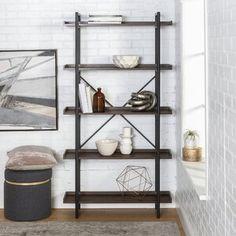 Keyon Wooden Bar with Wine Storage Etagere Bookcase, Ladder Bookcase, Bookcases, Wood Wall Shelf, Wood Shelves, Deep Shelves, Corner Shelves, Floating Wall, Floating Shelves