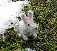 Gray Felted Rabbit by KrazyFeltFrenzy on Etsy, $26.00