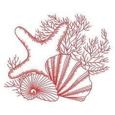 Embroidery Stitches Sweet Heirloom Embroidery Design: Redwork Seashell Starfish inches H x inches W - Machine Embroidery Thread, Iron On Embroidery, Border Embroidery, Embroidery Transfers, Hand Embroidery Stitches, Hand Embroidery Designs, Embroidery Techniques, Embroidery Ideas, Knitting Stitches