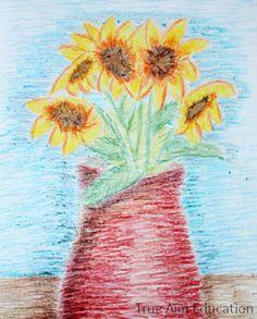 Van gogh sunflower art project for kids.