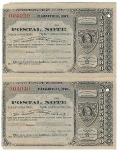 Pleasantville, IA 1889 Uncut Pair of Postal Note #004039 & #004040 Issued for 1 cent