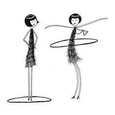 Flappers Hula Hoop desenho / / impressão da arte / / Ao contrário de Eloise, Ramona tem dominado o bambolê