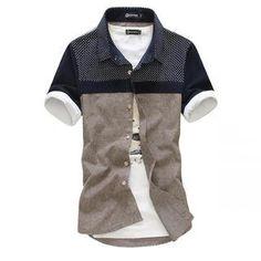 Short-Sleeve Color-Block Shirt