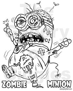 Zombie Minion Printable Colouring Page By GalleryofGiggles