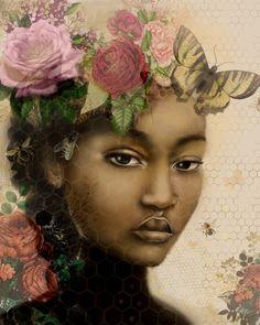 Claudia Tremblay, Sisters Art, Rose Art, How To Draw Hair, Fantastic Art, Silk Painting, Beautiful Paintings, Women Empowerment, Painted Rocks
