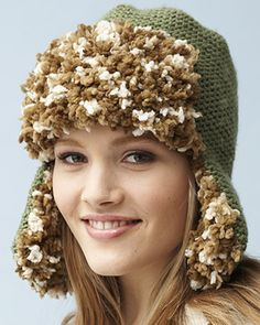 Bernat Super Value & Bernat On the Fringe - Trapper Hat (knit)