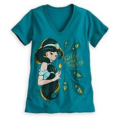 size Large- Please Disney Jasmine V-Neck Tee for Women | Disney StoreJasmine V-Neck Tee for Women - The sultan's daughter offers sound advice for romantics everywhere on this Jasmine Tee for Women. Gold glitter adds sparkle to this v-neck tee featuring the Disney Princess who encourages you to ''Follow your heart.''