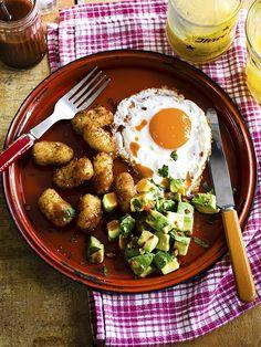Dan Doherty's homemade potato tots, fried egg, spiced avocado and hot sauce