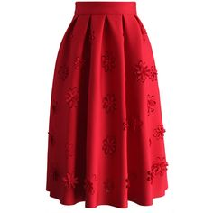 Chicwish Falling Flowers Airy Pleated Midi Skirt in Red (€42) ❤ liked on Polyvore featuring skirts, red, floral knee length skirt, flower print skirt, flower print midi skirt, mid calf skirts and red floral skirt