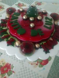 Gelatina navidad verde, rojo y dorado.