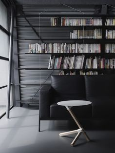 Light weight shelving system + off centred coffee table