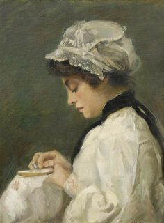 Girl sewing. Huile sur toile de Jean Nutting Oliver (américain)