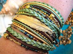 "Boho Chic Endless Leather Wrap Sage Beaded Bracelet with Floating Gold Feather..Adjustable..""FREE SHIPPING"""
