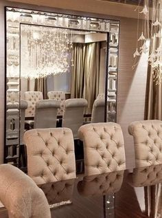 Luxe Designer Tiffany Mirror, So Glamorous Inspiring Interior Design Fans With Unique Luxury Hollywood Home Decor & Gift Ideas From InStyle-Decor. I love those chairs Home Interior, Interior Design, Stylish Interior, Luxury Interior, Deco Design, Home Fashion, Room Inspiration, Luxury Homes, Luxury Home Decor