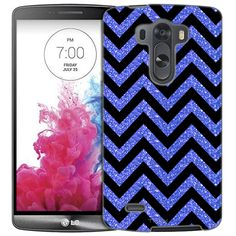 LG G3 Chevron Glitter Blue Black Slim Case