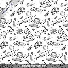 Entregue o teste padrão de pizza desenhada Vetor grátis