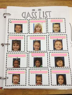 awesome idea - a class list with each students picture. Perfect for a sub binder. I wish every class did this. Perfect for volunteer also!!! Make one for parents/friends picking up children at dismissal