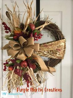 Wreaths Autumn Wreaths, Holiday Wreaths, Wreath Fall, Fall Crafts, Christmas Crafts, Xmas, Thanksgiving Decorations, Christmas Decorations, Antler Wreath