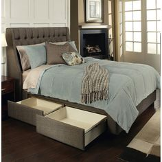 Cambridge Fabric Upholstered Storage Bed in Charcoal Brown by Seahawk Designs -- 85L x 89W x 58H, $550