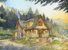 Drawing of Storybook cottage in the forest