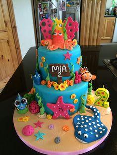 Inspiration Photo of Dory Birthday Cake Dory Birthday Cake Finding Dorynemo Mias Birthday Cake Karlee Birthday In Finding Dory Birthday Cake, 1st Birthday Cakes, Birthday Ideas, Dory Cake, Nemo Cake, Finding Nemo, Party Ideas, Disney Cakes, Cake Decorations